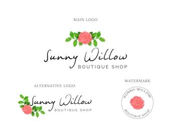 Logo Design, Flower Logo, Boutique Logo, Blog Logo, Premade Logo, Small Business Logo, Custom Logo Design, Feminine Logo, Shop Logo