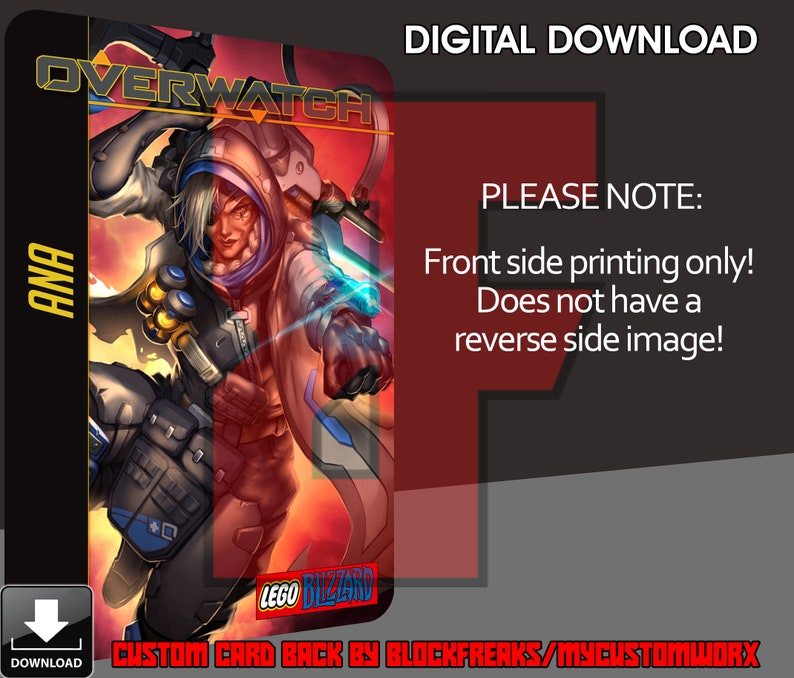 Custom Blizzard Overwatch Ana Digital Download Card Back