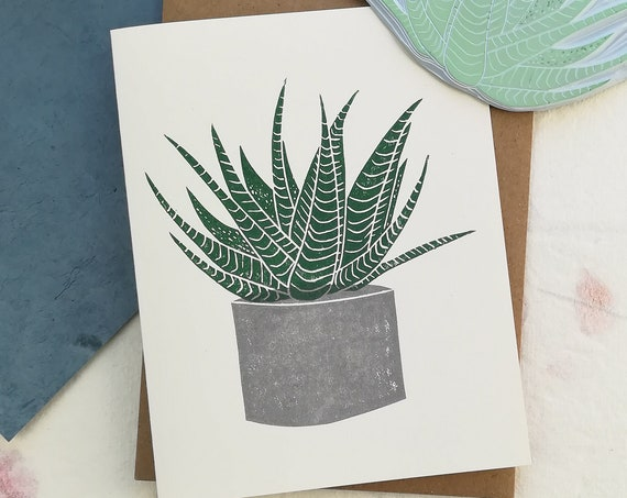 Handprinted haworthia succulent linocut card