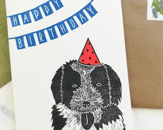 Handprinted linocut birthday dog card