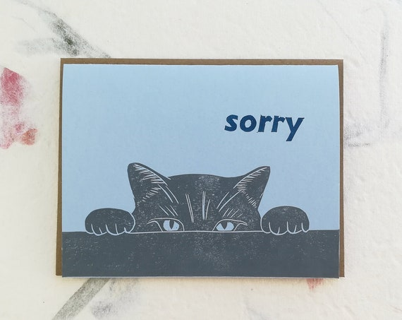 Cat sorry linocut card