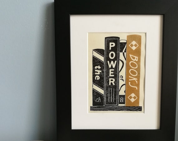 Handprinted linocut Power of Books art