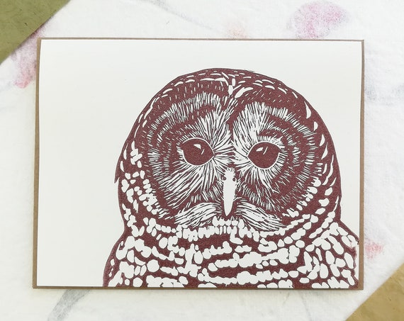 Barred owl linocut greeting card