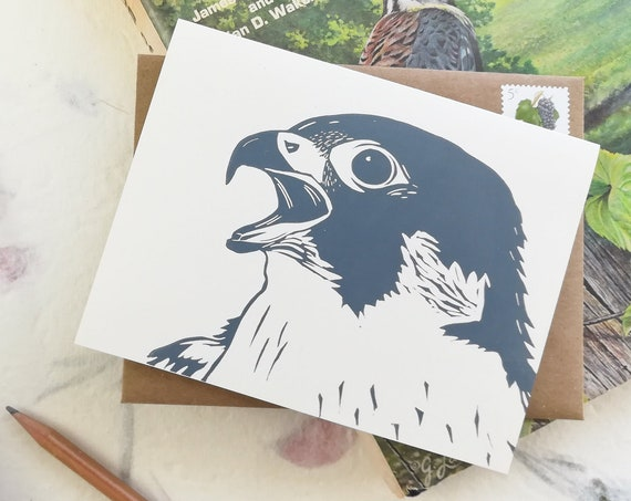 Handprinted peregrine falcon linocut card
