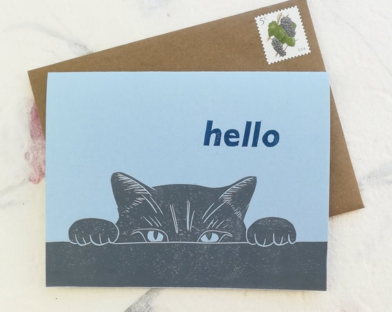 Cat hello linocut card
