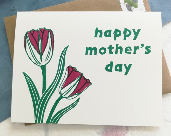 Handprinted tulips for Mother's Day linocut card