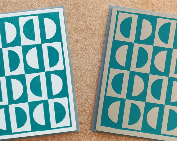 Handprinted linocut circle pattern card