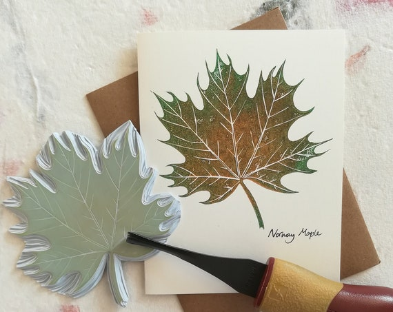 Handprinted linocut Norway Maple card