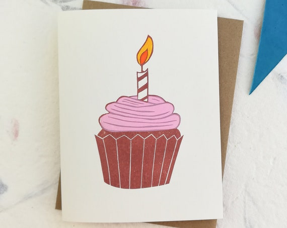 Handprinted linocut cupcake card