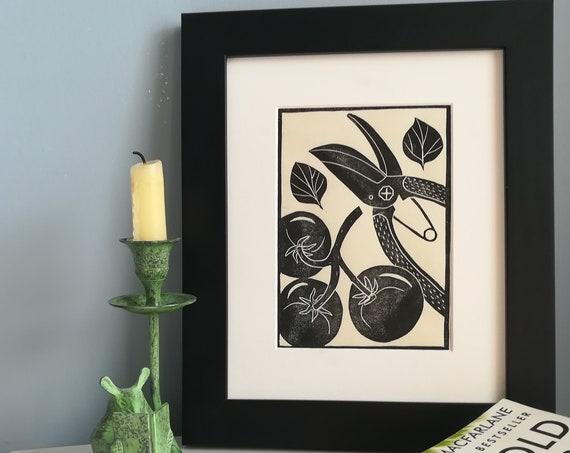 Handprinted linocut tomatoes art