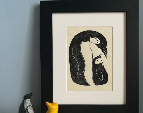 Handprinted linocut penguin and chick print