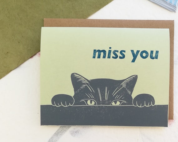 Cat miss you linocut card