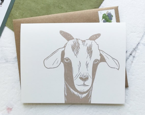 Handprinted goat linocut card