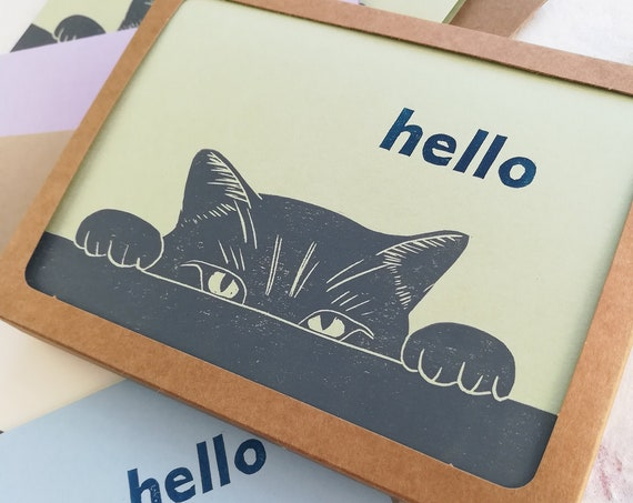 Boxed set of 6 - Cat thank you linocut card
