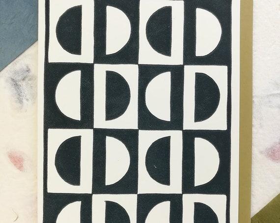 Handprinted linocut circle pattern card