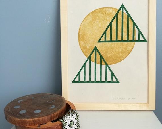 "Sun Temple Two - original linocut print - 9"" x 12"""