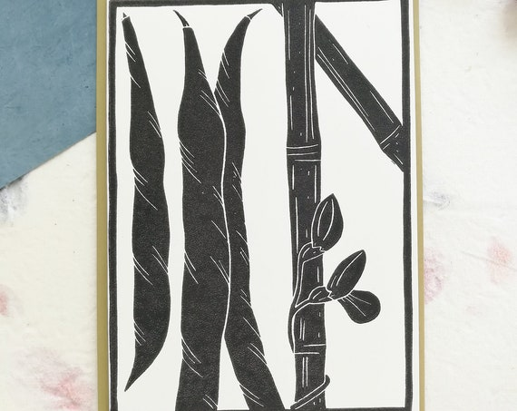 SALE: Handprinted linocut runner beans and bamboo cane card