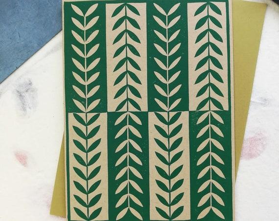 Handprinted linocut leaf pattern card