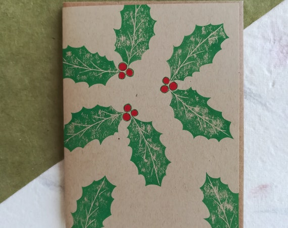Handprinted winter holly and berries linocut card