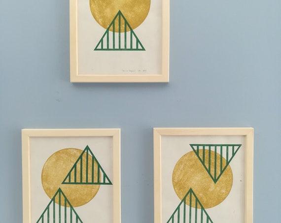 "Sun Temple Set of 3 - original linocut prints - 9"" x 12"" each"