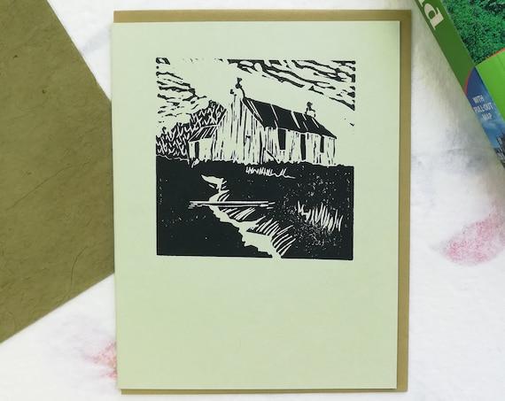 Handprinted linocut Aran cottage card