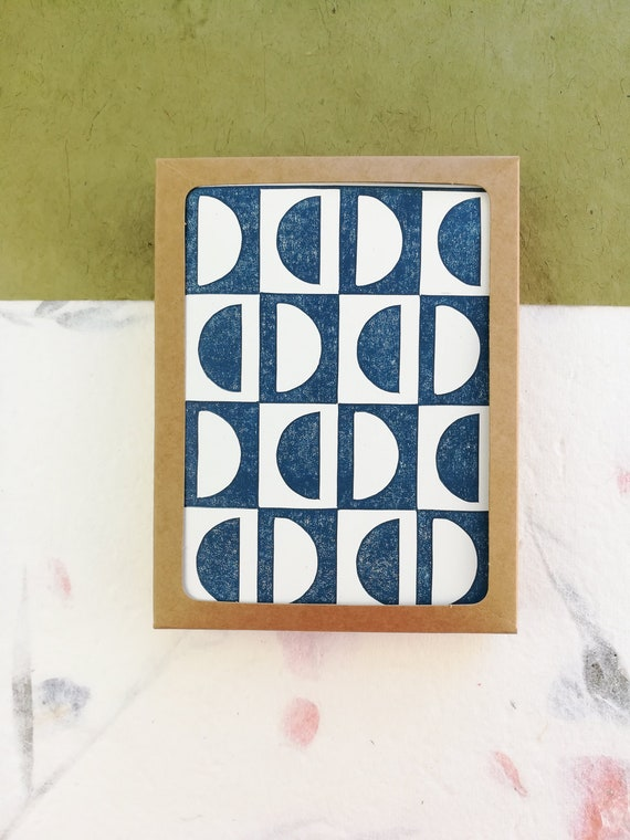 Boxed set of 6 - Abstract linocut semi circle cards