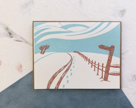 Handprinted linocut snow scene card