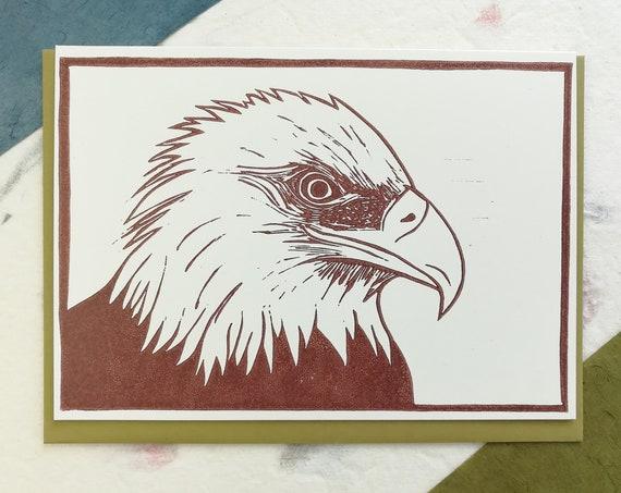 SALE: Handprinted linocut bald eagle card