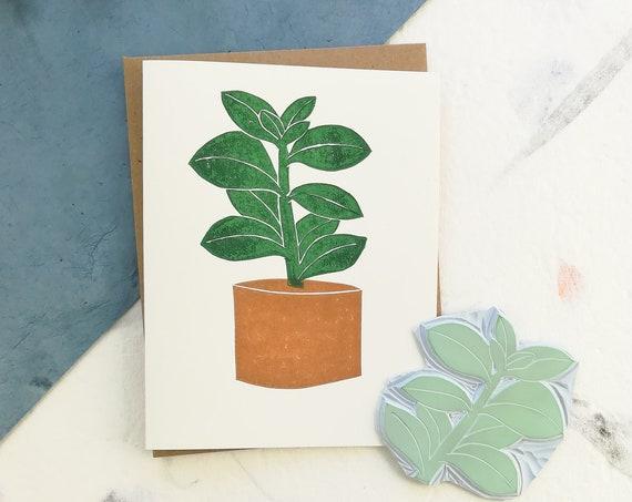 Handprinted linocut succulent card