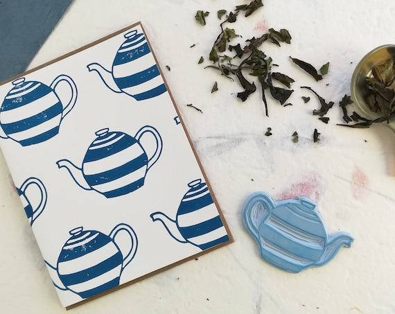 Handprinted linocut teapot pattern card