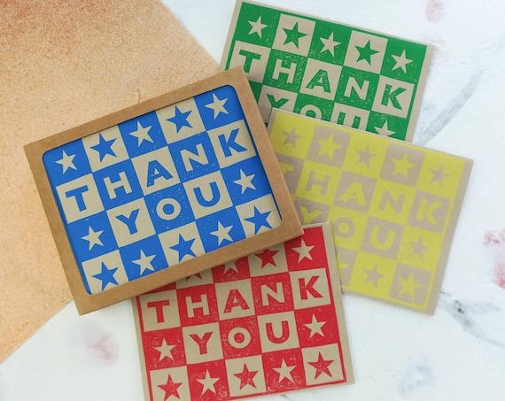 SALE: Handprinted linocut thank you card - set of 6