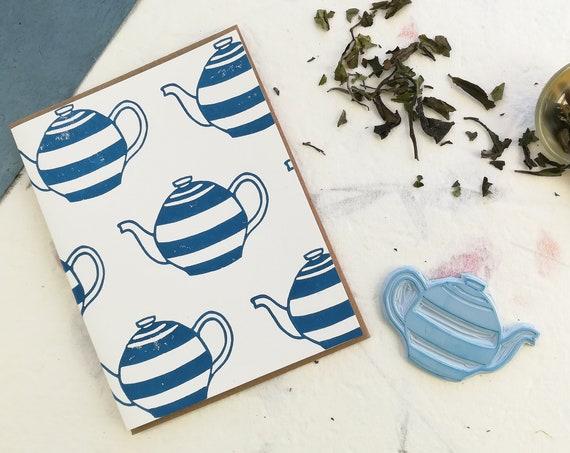 Handprinted linocut teapot pattern card