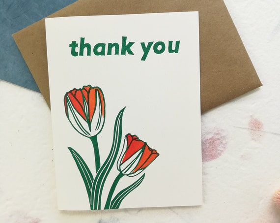Handprinted thank you tulips linocut card