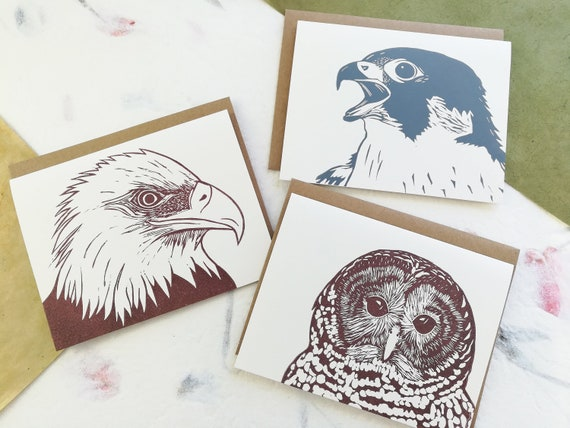 Boxed set of 6 - Pennsylvania Birds of Prey linocut cards