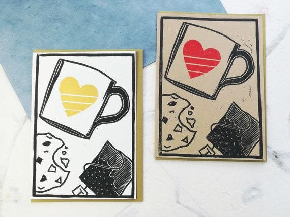 SALE: Handprinted linocut tea and cookie card