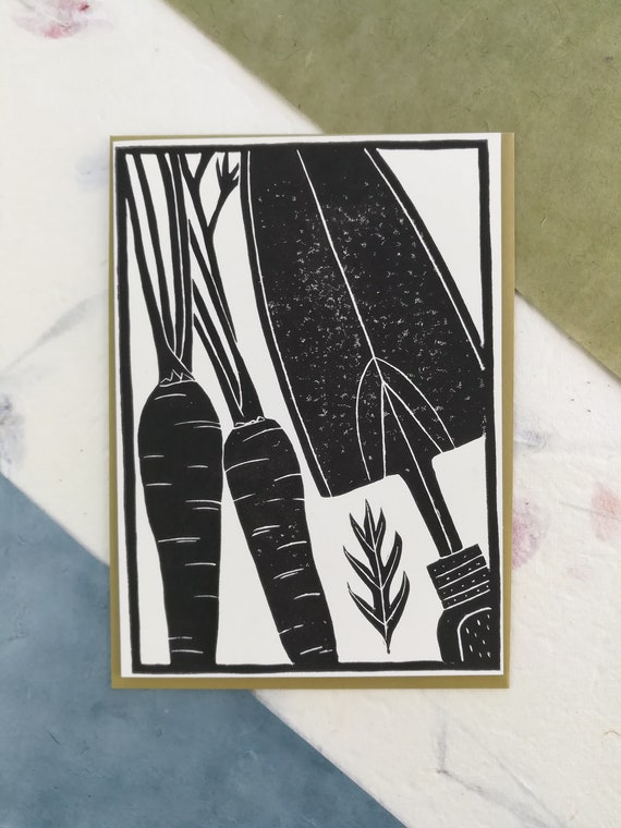 Handprinted linocut carrots and trowel card