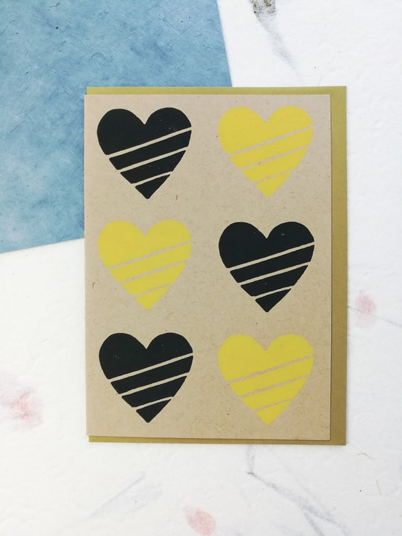 SALE: Handprinted linocut black and gold Pittsburgh love card