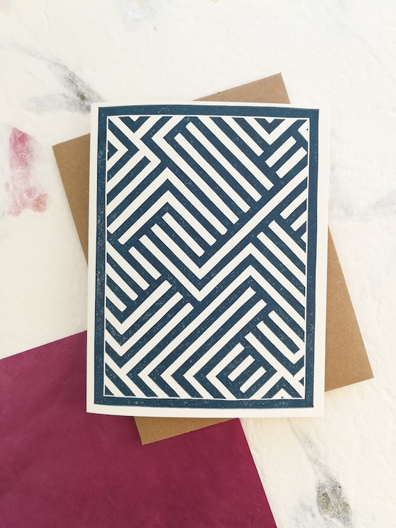 Abstract lines linocut greeting card