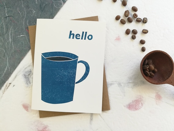 Handprinted hello coffee linocut card