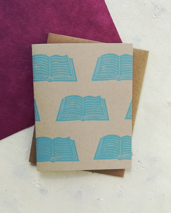 Handprinted linocut open book card