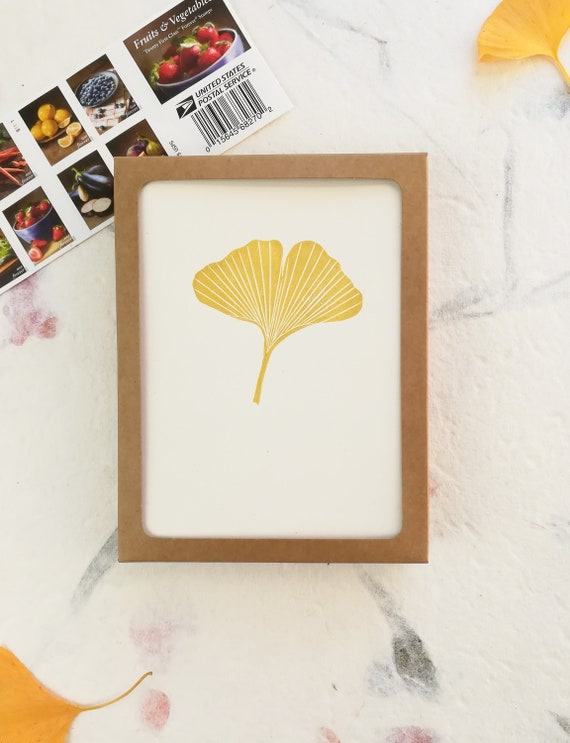 Boxed set of 6 - Handprinted linocut gold ginkgo leaf cards