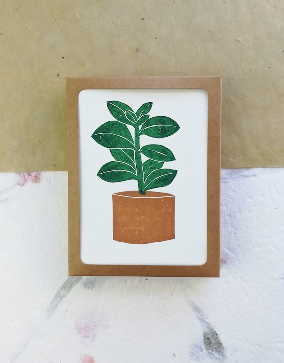 Boxed set of 6 - Linocut succulent cards