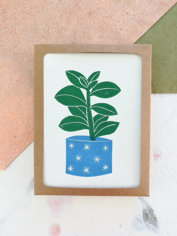Boxed set of 6 - Linocut succulent in blue pot cards