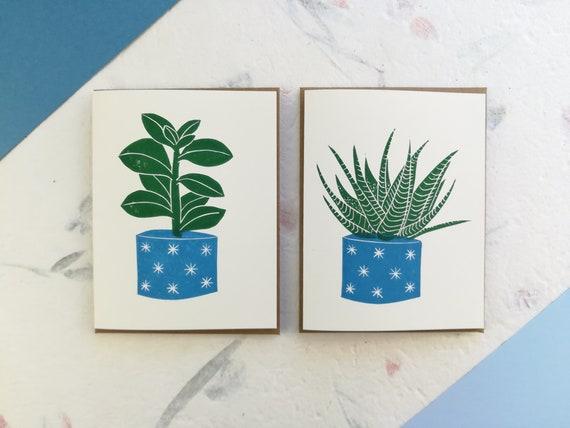 Handprinted succulent with blue pot linocut card