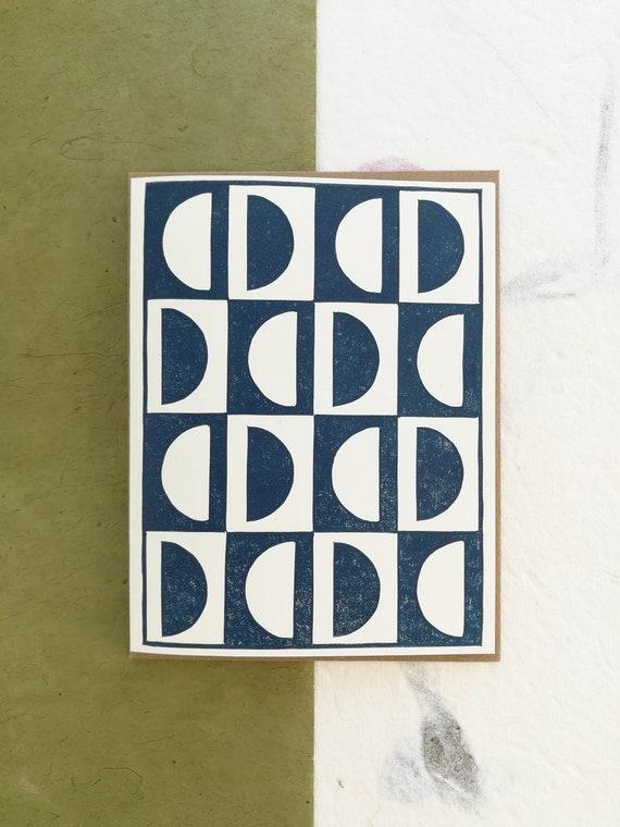 Abstract semi circles linocut greeting card