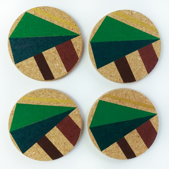 Set of 4 natural cork coasters - camping in the woods