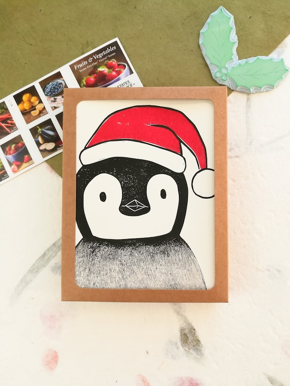 Boxed set of 6 handprinted linocut penguin holiday cards