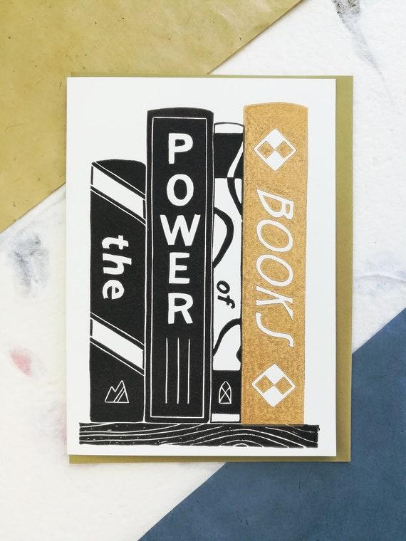 Handprinted linocut books card