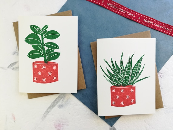 Handprinted succulent with red pot linocut card