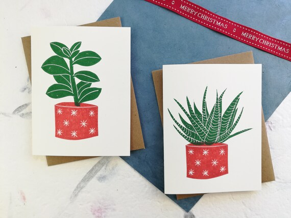 Handprinted Christmas succulent linocut card